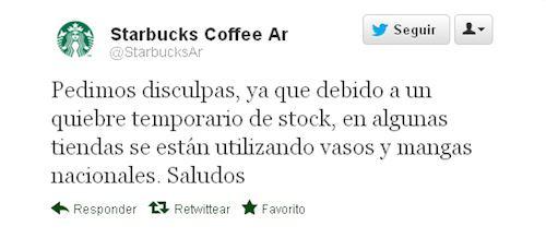Tweet Starbucks Argentina pidiendo disculpas