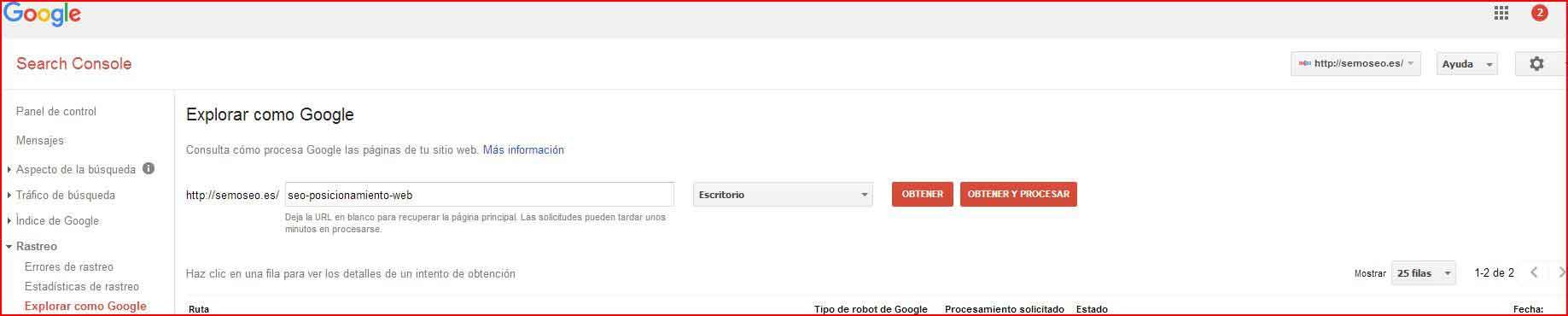 search control, como indexar